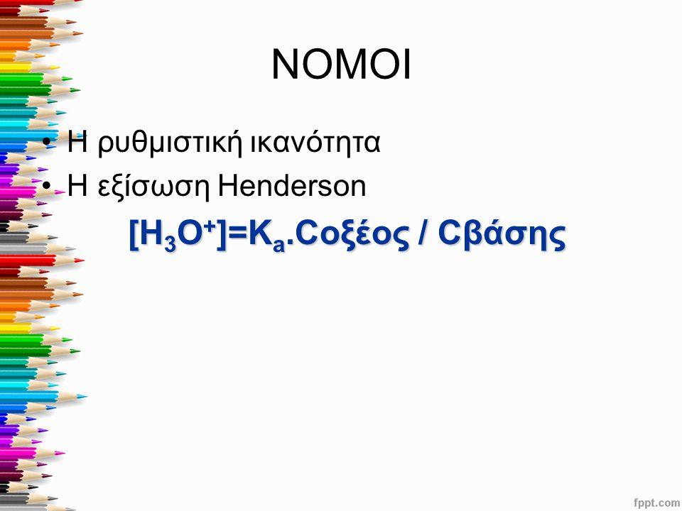 ΝΟΜΟΙ [Η3Ο+]=Κa.Cοξέος / Cβάσης Η ρυθμιστική ικανότητα
